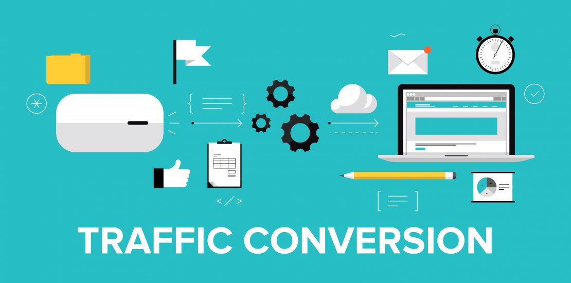 Flat design modern vector illustration concept of the website traffic conversion growth, webpage search engine optimization, web site analyzing and content development. Isolated on stylish color background